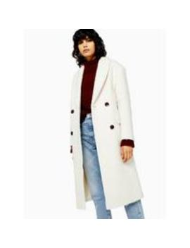 double-breasted-longline-coat---ivory by topshop