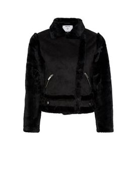 petite-black-shearling-jacket by dorothy-perkins