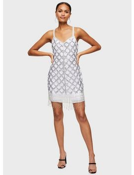 White Grid Beaded Tassel Dress by Miss Selfridge