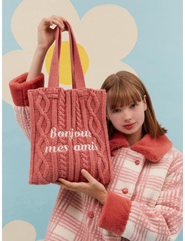 Bonjour Mes Amis Knit Bag Coral by O!Oi