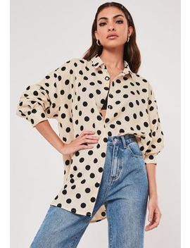 nude-polka-dot-extreme-oversized-satin-shirt by missguided