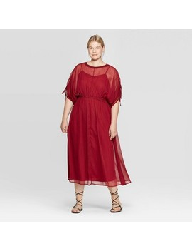 womens-plus-size-elbow-sleeve-crewneck-midi-dress---prologue-red by prologue