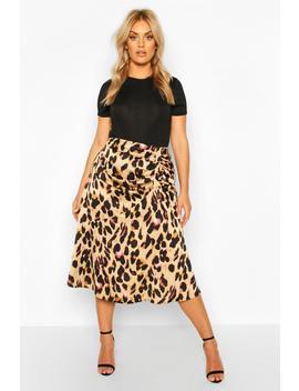 plus-leopard-print-satin-ruched-asymmetric-skirt by boohoo
