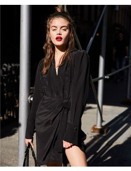 Robe Courte Soie Noire Manches Longues by The Kooples