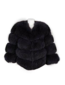 The Kensington Fox Fur Jacket In Charcoal Grey by Popski London