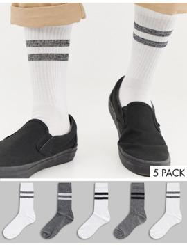 asos-design-5-pack-sports-style-socks-in-monochrome-salt-&-pepper-twist-save by asos-design