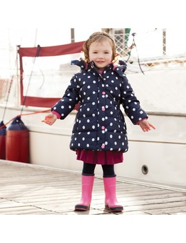 Girls' Navy & White Dot Puffer Jacket by Jo Jo Maman Bebe