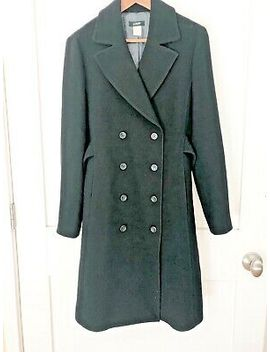 j-crew-womens-black-wool-double-breasted-long-coat-jacket-sz-12-perfect! by jcrew