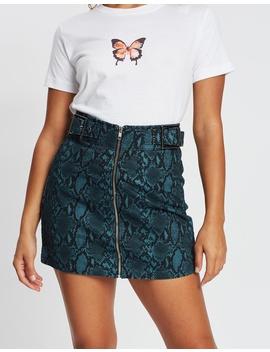 snake-buckle-skirt by topshop-petite