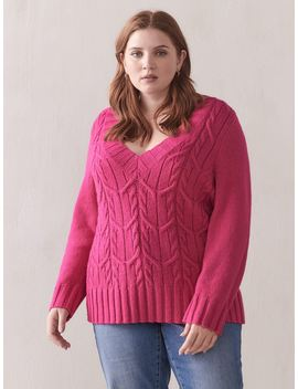 Cable Stitch V Neck Sweater   Addition Elle by Penningtons