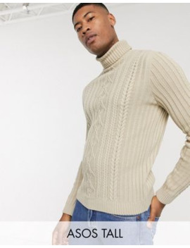asos-design-tall-knitted-cable-knit-roll-neck-sweater-in-oatmeal by asos-design