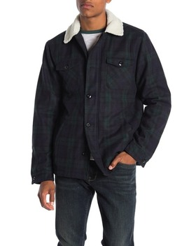 faux-shearling-lined-plaid-print-trucker-jacket by the-narrows