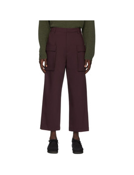 burgundy-bonded-wool-gusset-cargo-pants by deveaux-new-york