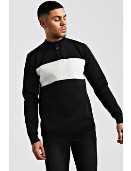 knitted-long-sleeve-colour-block-polo by boohoo