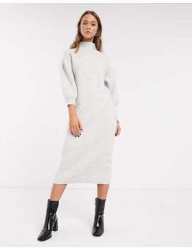 asos-design-balloon-sleeve-midi-dress-with-high-neck by asos-design