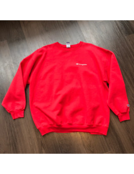 red-champion-painter-distressed-crewneck-vintage by vintage  ×  champion  ×