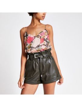 khaki-belted-faux-leather-mom-shorts by river-island