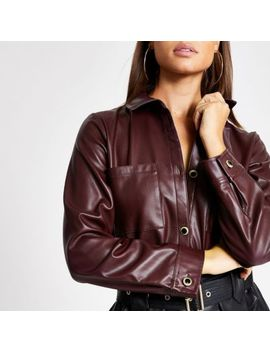dark-red-faux-leather-long-sleeve-shirt by river-island