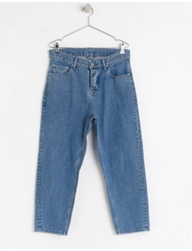 asos-white-tapered-cropped-jeans-in-14-oz-mid-wash-denim by asos  ×