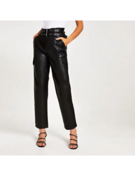 black-belted-tapered-coated-trousers by river-island