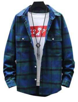 plaid-print-button-up-pocket-shirt---green-4xl by zaful