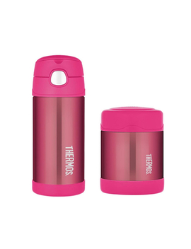 Thermos Funtainer 355ml Drink Bottle + 290ml Food Jar   Pink by Catch