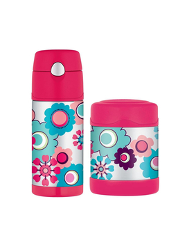 "Thermos Funtainer 290 Ml Food Container + 355 Ml Drink Bottle ""Flowers"" by Catch"