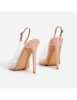 Tracey Peep Toe Perspex Heel In Nude Patent by Ego