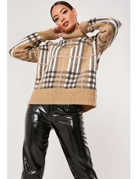 brown-plaid-oversized-high-neck-sweater by missguided
