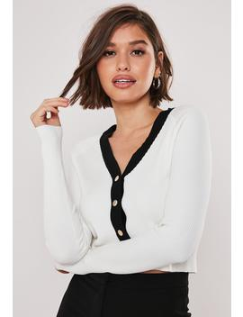 white-button-through-contrast-crop-cardigan by missguided