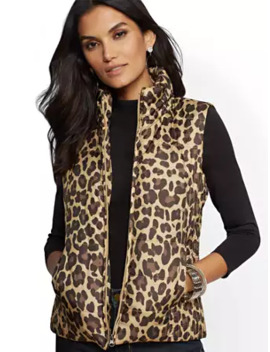 Leopard Print Puffer Vest by New York & Company