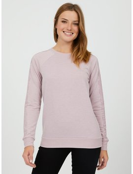 Long Sleeve Lace Appliqué Sweatshirt by Suzy Shier
