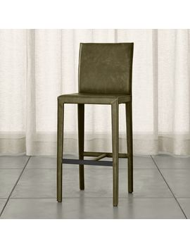Folio Olive Top Grain Leather Bar Stool by Crate&Barrel