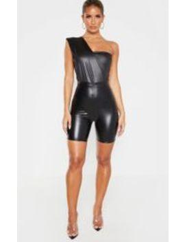 black-wet-look-one-shoulder-bodysuit- by prettylittlething