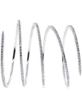 14 K White Gold 11.42 Ct Diamond Spring Womens Bangle Bracelet by 24diamonds