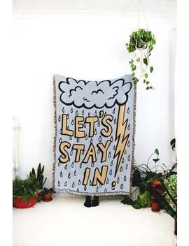 lets-stay-in-blanket---rain,-thunder-cloud,-and-lightening-cotton-throw---rainy-day-decor---cozy-blanket-for-couch---blue-and-yellow by etsy