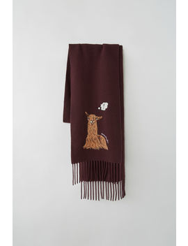 Animal Embroidered Skinny Scarf Burgundy by Acne Studios
