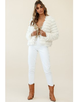 Montana Shaggy Faux Fur Jacket White by Selfie Leslie