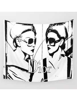 sketched-fashion-white-on-black-wall-tapestry by society6