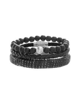 stainless-steel-bead-leather-trio-bracelet-set by reinforcements