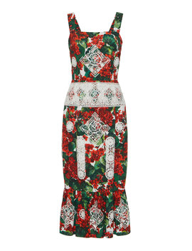 floral-print-cotton-blend-midi-dress by dolce-&-gabbana