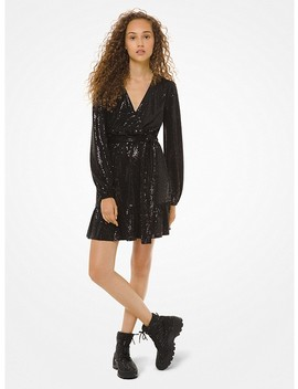 Mirror Dot Matte Jersey Crossover Dress by Michael Michael Kors