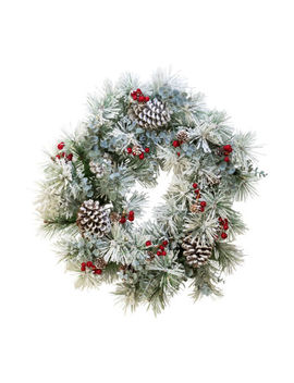 kurt-adler-battery-operated-red-berries-and-pinecone-led-wreath by kurt-adler