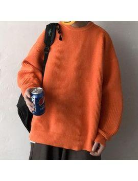 yergo---long-sleeve-plain-loose-fit-knit-top by yergo