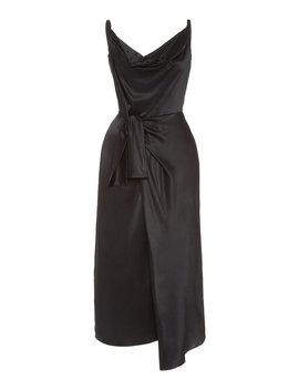 giselle-wrap-effect-silk-satin-midi-dress by saloni