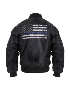 rothco-thin-blue-line-flag-ma-1-flight-jacket,-law-enforcement-support,-black by rothco