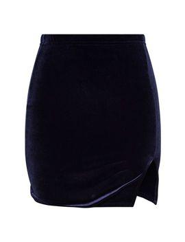 navy-velvet-slit-front-mini-skirt by prettylittlething