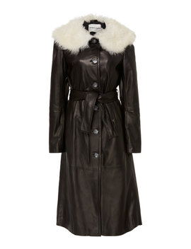 boose-belted-shearling-trimmed-leather-coat by sandy-liang