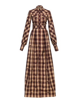 dallas-western-checked-cotton-maxi-dress by lena-hoschek