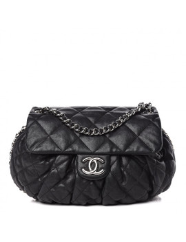 chanel-washed-lambskin-quilted-medium-chain-around-messenger-black by chanel